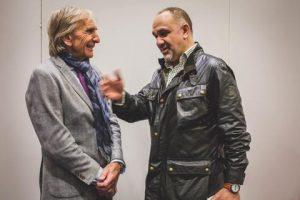 Derek Bell MBE talking to the owner of Omologato - Shami Kalra